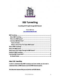 XSS Tunnelling. Tunnelling HTTP traffic through XSS Channels. Ferruh Mavituna