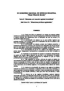 XV CONGRESO NACIONAL DE DERECHO REGISTRAL Oscar Eduardo Sarubo