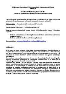 XV Jornadas Nacionales y IV Internacionales de Enseñanza de la Historia APEHUN