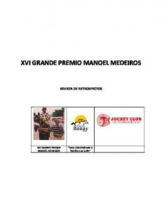 XVI GRANDE PREMIO MANOEL MEDEIROS