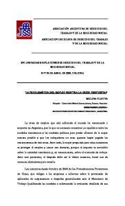 XVI JORNADAS RIOPLATENSES DE DERECHO DEL TRABAJO Y DE LA SEGURIDAD SOCIAL 24 Y 25 DE ABRIL DE 2009, COLONIA