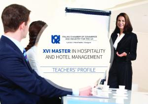 XVI MASTER IN HOSPITALITY AND HOTEL MANAGEMENT TEACHERS PROFILE