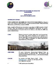 XXI CAMPEONATO SUDAMERICANO DE GOLF DE DAMAS SENIOR. Quito, Ecuador Del 2 al 8 de Octubre del 2016