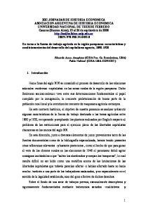 XXI JORNADAS DE HISTORIA ECONOMICA ASOCIACION ARGENTINA DE HISTORIA ECONOMICA UNIVERSIDAD NACIONAL DE TRES DE FEBRERO