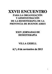 XXIV JORNADAS DE HEMOTERAPIA VILLA GESELL