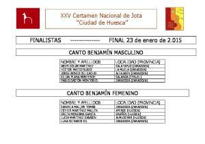 XXV Certamen Nacional de Jota Ciudad de Huesca. FINALISTAS FINAL 23 de enero de 2.015