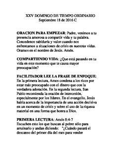 XXV DOMINGO DE TIEMPO ORDINARIO Septiembre 18 de 2016 C