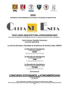 XXVI CONFERENCIA LATINOAMERICANA DE ESCUELAS Y FACULTADES DE ARQUITECTURA