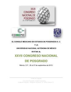XXVII CONGRESO NACIONAL DE POSGRADO