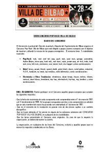 XXVIII CONCURSO POP-ROCK VILLA DE BILBAO BASES DEL CONCURSO