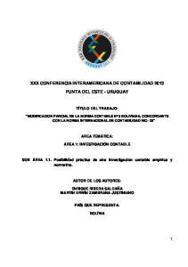 XXX CONFERENCIA INTERAMERICANA DE CONTABILIDAD 2013 PUNTA DEL ESTE - URUGUAY