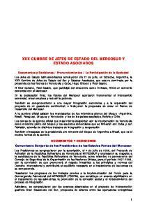 XXX CUMBRE DE JEFES DE ESTADO DEL MERCOSUR Y ESTADO ASOCIADOS