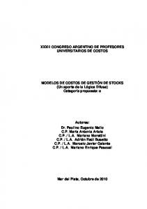 XXXIII CONGRESO ARGENTINO DE PROFESORES UNIVERSITARIOS DE COSTOS