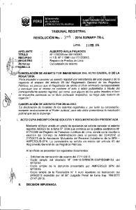 y Derechos Humanos TRIBUNAL REGISTRAL Lima, 2 1 FEa 1014