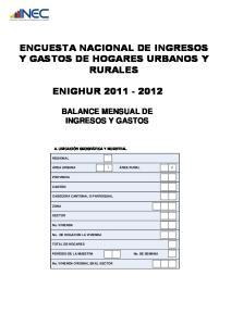 Y GASTOS DE HOGARES URBANOS Y ENIGHUR