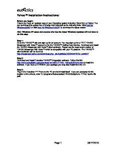 Yahoo Installation Instructions: