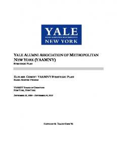YALE ALUMNI ASSOCIATION OF METROPOLITAN NEW YORK (YAAMNY) STRATEGIC PLAN