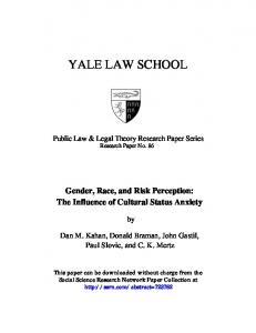 YALE LAW SCHOOL. Public Law & Legal Theory Research Paper Series Research Paper No. 86
