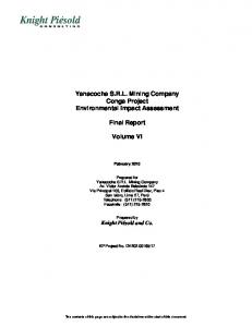 Yanacocha S.R.L. Mining Company Conga Project Environmental Impact Assessment. Final Report. Volume VI