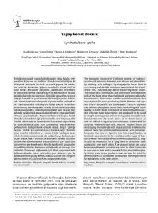 Yapay kemik dokusu. Synthetic bone grafts. Hospital for Special Surgery, New York, ABD; 3