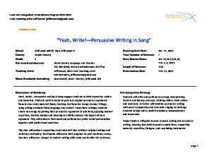 Yeah, Write! Persuasive Writing in Song