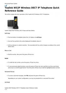 Yealink W52P Wireless DECT IP Telephone Quick Reference Guide