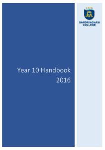 Year 10 Handbook 2016