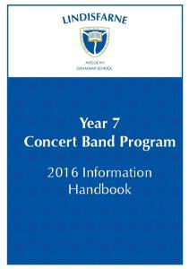 Year 7 Concert Band Program