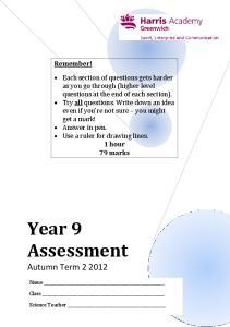 Year 9 Assessment. Autumn Term Remember!