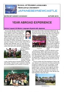 YEAR ABROAD EXPERIENCE