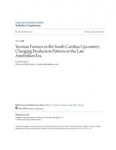 Yeoman Farmers in the South Carolina Upcountry: Changing Production Patterns in the Late Antebellum Era