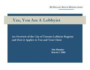 Yes, You Are A Lobbyist