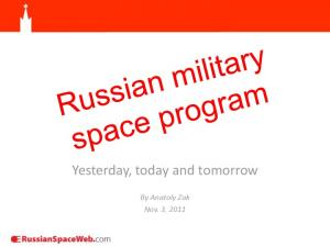 Yesterday, today and tomorrow. By Anatoly Zak Nov. 3, 2011