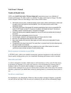 Yeti Owner s Manual. Tundra & Roadie Series