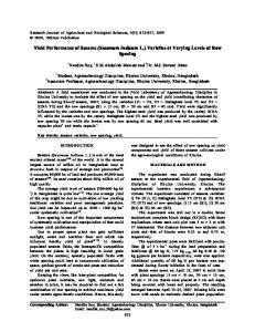 Yield Performance of Sesame (Sesamum Indicum L.) Varieties at Varying Levels of Row Spacing