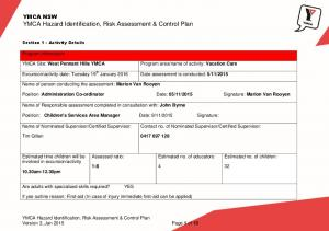 YMCA Hazard Identification, Risk Assessment & Control Plan