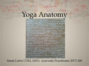 Yoga Anatomy. Susan Lewis CNM, MSN, Ayurvedic Practitioner, RYT-200