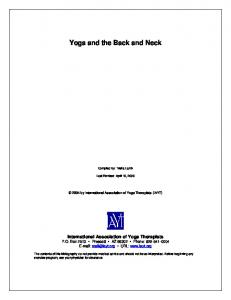 Yoga and the Back and Neck