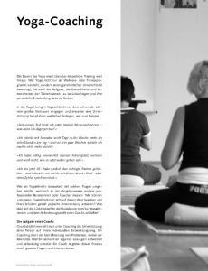 Yoga-Coaching. Yoga-Szene