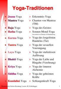 Yoga-Traditionen. Erkenntnis-Yoga Chanten von Mantras (TM) Yoga des Geistes Sonnen-Mond-Yoga. Jnana-Yoga Mantra-Yoga. Raja-Yoga Hatha-Yoga