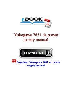 Yokogawa 7651 dc power supply manual
