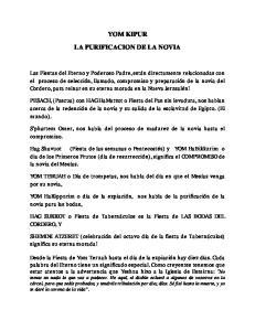YOM KIPUR LA PURIFICACION DE LA NOVIA
