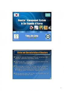 Yong Jun Jung. President of NDMI Disaster Management System in the Republic of Korea
