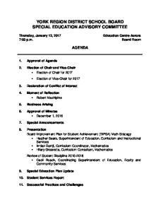 YORK REGION DISTRICT SCHOOL BOARD SPECIAL EDUCATION ADVISORY COMMITTEE