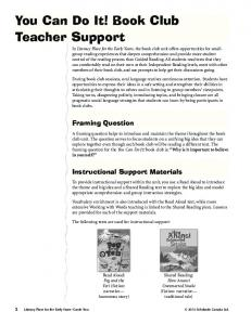 You Can Do It! Book Club Teacher Support