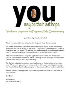 You have a purpose at the Pregnancy Help Center ministry
