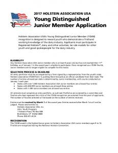 Young Distinguished Junior Member Application