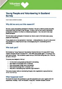 Young People and Volunteering in Scotland Survey