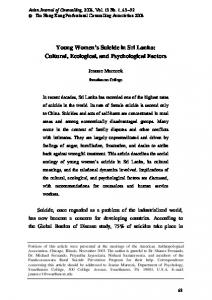 Young Women s Suicide in Sri Lanka: Cultural, Ecological, and Psychological Factors