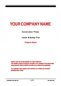 YOUR COMPANY NAME. Construction Phase. Health & Safety Plan. Project Name